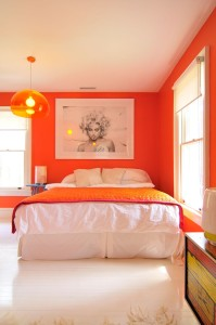 orange white bedroom